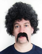 Scouser 70's 80's Perm Wig and Moustache